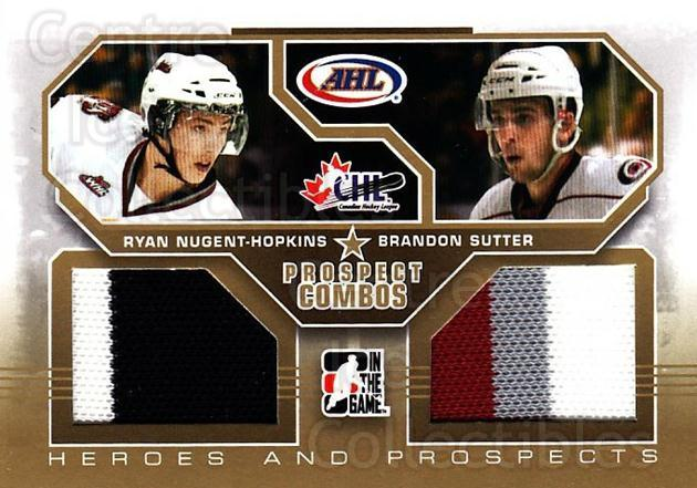 2009-10 ITG Heroes and Prospects Combos Jersey Gold #9 Ryan Nugent-Hopkins, Brandon Sutter<br/>1 In Stock - $20.00 each - <a href=https://centericecollectibles.foxycart.com/cart?name=2009-10%20ITG%20Heroes%20and%20Prospects%20Combos%20Jersey%20Gold%20%239%20Ryan%20Nugent-Hop...&price=$20.00&code=683798 class=foxycart> Buy it now! </a>