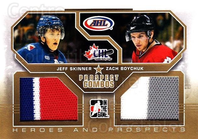 2009-10 ITG Heroes and Prospects Combos Jersey Gold #12 Jeff Skinner, Zach Boychuk<br/>1 In Stock - $20.00 each - <a href=https://centericecollectibles.foxycart.com/cart?name=2009-10%20ITG%20Heroes%20and%20Prospects%20Combos%20Jersey%20Gold%20%2312%20Jeff%20Skinner,%20Z...&quantity_max=1&price=$20.00&code=683799 class=foxycart> Buy it now! </a>