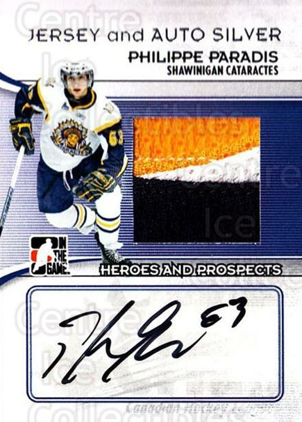 2009-10 ITG Heroes and Prospects Jersey Auto Silver #MAPP Phillippe Paradis<br/>1 In Stock - $20.00 each - <a href=https://centericecollectibles.foxycart.com/cart?name=2009-10%20ITG%20Heroes%20and%20Prospects%20Jersey%20Auto%20Silver%20%23MAPP%20Phillippe%20Parad...&price=$20.00&code=683874 class=foxycart> Buy it now! </a>