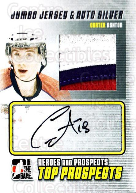 2009-10 ITG Heroes and Prospects Top Prospects Jersey Auto Silver #JMACA Carter Ashton<br/>1 In Stock - $20.00 each - <a href=https://centericecollectibles.foxycart.com/cart?name=2009-10%20ITG%20Heroes%20and%20Prospects%20Top%20Prospects%20Jersey%20Auto%20Silver%20%23JMACA%20Carter%20Ashton...&quantity_max=1&price=$20.00&code=683900 class=foxycart> Buy it now! </a>