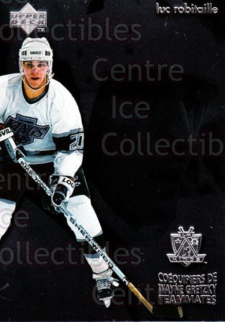 1998-99 McDonalds Upper Deck Wayne Gretzkys Teammates #13 Wayne Gretzky, Luc Robitaille<br/>10 In Stock - $2.00 each - <a href=https://centericecollectibles.foxycart.com/cart?name=1998-99%20McDonalds%20Upper%20Deck%20Wayne%20Gretzkys%20Teammates%20%2313%20Wayne%20Gretzky,%20...&quantity_max=10&price=$2.00&code=68455 class=foxycart> Buy it now! </a>