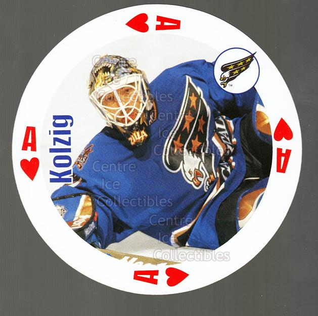 1998-99 NHL Aces Playing Card #1 Olaf Kolzig<br/>5 In Stock - $2.00 each - <a href=https://centericecollectibles.foxycart.com/cart?name=1998-99%20NHL%20Aces%20Playing%20Card%20%231%20Olaf%20Kolzig...&quantity_max=5&price=$2.00&code=68490 class=foxycart> Buy it now! </a>
