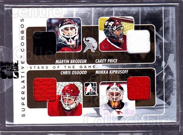 2010 ITG Superlative Expo Combo #46 Martin Brodeur, Carey Price, Chris Osgood, Miikka Kiprusoff<br/>1 In Stock - $40.00 each - <a href=https://centericecollectibles.foxycart.com/cart?name=2010%20ITG%20Superlative%20Expo%20Combo%20%2346%20Martin%20Brodeur,...&price=$40.00&code=685568 class=foxycart> Buy it now! </a>