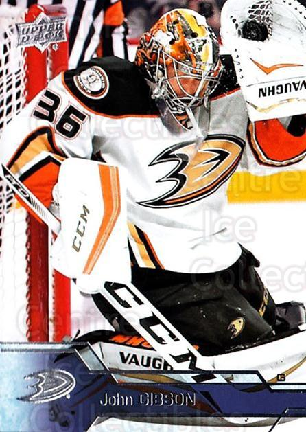 2016-17 Upper Deck #1 John Gibson<br/>13 In Stock - $1.00 each - <a href=https://centericecollectibles.foxycart.com/cart?name=2016-17%20Upper%20Deck%20%231%20John%20Gibson...&quantity_max=13&price=$1.00&code=685636 class=foxycart> Buy it now! </a>