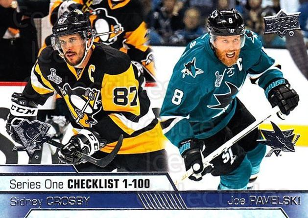 2016-17 Upper Deck #199 Sidney Crosby, Joe Pavelski<br/>25 In Stock - $3.00 each - <a href=https://centericecollectibles.foxycart.com/cart?name=2016-17%20Upper%20Deck%20%23199%20Sidney%20Crosby,%20...&quantity_max=25&price=$3.00&code=685834 class=foxycart> Buy it now! </a>