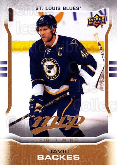 2014-15 Upper Deck MVP #261 David Backes<br/>1 In Stock - $3.00 each - <a href=https://centericecollectibles.foxycart.com/cart?name=2014-15%20Upper%20Deck%20MVP%20%23261%20David%20Backes...&quantity_max=1&price=$3.00&code=687465 class=foxycart> Buy it now! </a>
