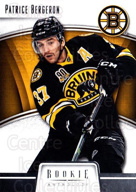 2013-14 Panini Rookie Anthology #5 Patrice Bergeron<br/>2 In Stock - $2.00 each - <a href=https://centericecollectibles.foxycart.com/cart?name=2013-14%20Panini%20Rookie%20Anthology%20%235%20Patrice%20Bergero...&quantity_max=2&price=$2.00&code=689137 class=foxycart> Buy it now! </a>