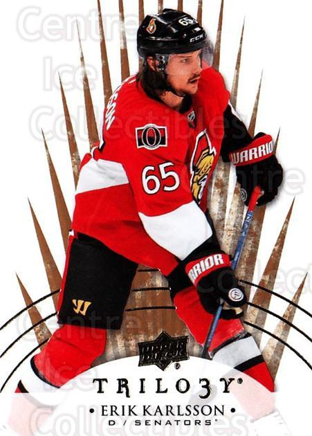 2014-15 UD Trilogy #70 Erik Karlsson<br/>1 In Stock - $1.00 each - <a href=https://centericecollectibles.foxycart.com/cart?name=2014-15%20UD%20Trilogy%20%2370%20Erik%20Karlsson...&quantity_max=1&price=$1.00&code=689803 class=foxycart> Buy it now! </a>