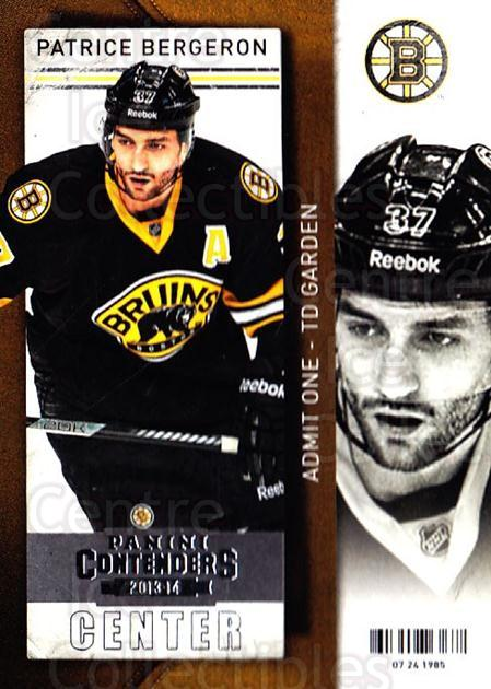 2013-14 Panini Contenders #31 Patrice Bergeron<br/>7 In Stock - $2.00 each - <a href=https://centericecollectibles.foxycart.com/cart?name=2013-14%20Panini%20Contenders%20%2331%20Patrice%20Bergero...&quantity_max=7&price=$2.00&code=690512 class=foxycart> Buy it now! </a>