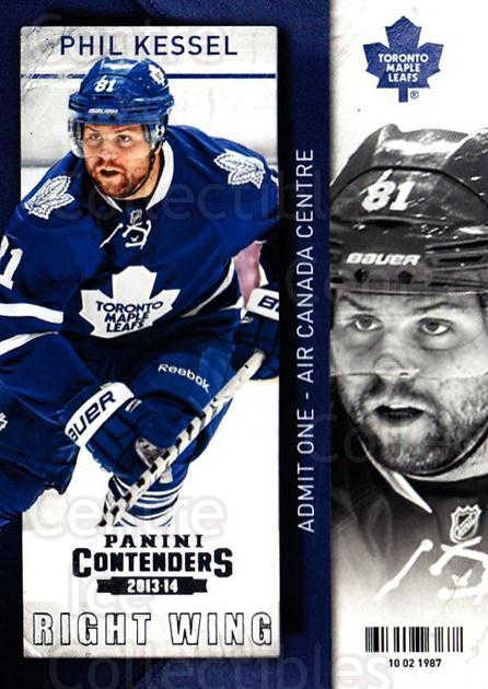 2013-14 Panini Contenders #40 Phil Kessel<br/>7 In Stock - $1.00 each - <a href=https://centericecollectibles.foxycart.com/cart?name=2013-14%20Panini%20Contenders%20%2340%20Phil%20Kessel...&quantity_max=7&price=$1.00&code=690521 class=foxycart> Buy it now! </a>