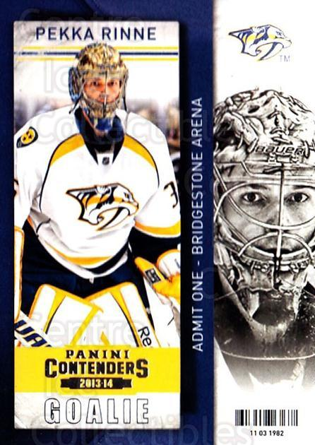 2013-14 Panini Contenders #59 Pekka Rinne<br/>7 In Stock - $1.00 each - <a href=https://centericecollectibles.foxycart.com/cart?name=2013-14%20Panini%20Contenders%20%2359%20Pekka%20Rinne...&quantity_max=7&price=$1.00&code=690540 class=foxycart> Buy it now! </a>
