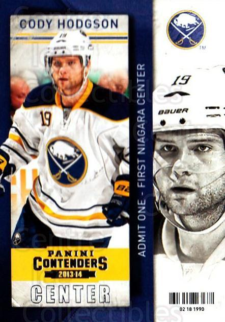 2013-14 Panini Contenders #100 Cody Hodgson<br/>7 In Stock - $1.00 each - <a href=https://centericecollectibles.foxycart.com/cart?name=2013-14%20Panini%20Contenders%20%23100%20Cody%20Hodgson...&quantity_max=7&price=$1.00&code=690581 class=foxycart> Buy it now! </a>