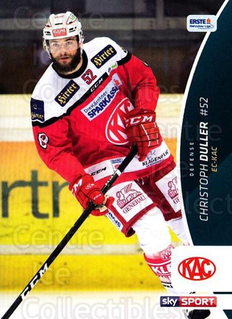 2016-17 Erste Bank Eishockey Liga EBEL #101 Christoph Duller<br/>4 In Stock - $2.00 each - <a href=https://centericecollectibles.foxycart.com/cart?name=2016-17%20Erste%20Bank%20Eishockey%20Liga%20EBEL%20%23101%20Christoph%20Dulle...&quantity_max=4&price=$2.00&code=692203 class=foxycart> Buy it now! </a>