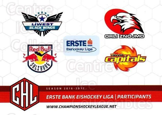 2016-17 Erste Bank Eishockey Liga EBEL #185 EBEL Participants<br/>4 In Stock - $2.00 each - <a href=https://centericecollectibles.foxycart.com/cart?name=2016-17%20Erste%20Bank%20Eishockey%20Liga%20EBEL%20%23185%20EBEL%20Participan...&quantity_max=4&price=$2.00&code=692287 class=foxycart> Buy it now! </a>
