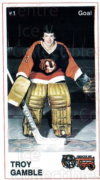 1985-86 Medicine Hat Tigers #15 Troy Gamble<br/>2 In Stock - $3.00 each - <a href=https://centericecollectibles.foxycart.com/cart?name=1985-86%20Medicine%20Hat%20Tigers%20%2315%20Troy%20Gamble...&quantity_max=2&price=$3.00&code=692559 class=foxycart> Buy it now! </a>