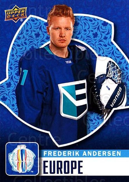 2016 Upper Deck World Cup of Hockey #14 Frederik Andersen<br/>2 In Stock - $2.00 each - <a href=https://centericecollectibles.foxycart.com/cart?name=2016%20Upper%20Deck%20World%20Cup%20of%20Hockey%20%2314%20Frederik%20Anders...&quantity_max=2&price=$2.00&code=692668 class=foxycart> Buy it now! </a>