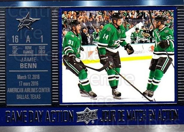 2016-17 Tim Hortons Game Day Action #5 Jamie Benn<br/>18 In Stock - $2.00 each - <a href=https://centericecollectibles.foxycart.com/cart?name=2016-17%20Tim%20Hortons%20Game%20Day%20Action%20%235%20Jamie%20Benn...&quantity_max=18&price=$2.00&code=692699 class=foxycart> Buy it now! </a>