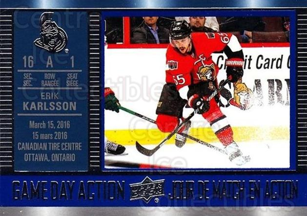 2016-17 Tim Hortons Game Day Action #9 Erik Karlsson<br/>12 In Stock - $2.00 each - <a href=https://centericecollectibles.foxycart.com/cart?name=2016-17%20Tim%20Hortons%20Game%20Day%20Action%20%239%20Erik%20Karlsson...&quantity_max=12&price=$2.00&code=692703 class=foxycart> Buy it now! </a>