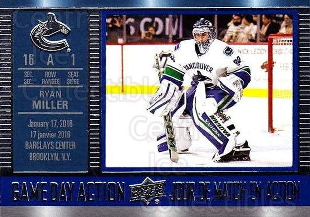 2016-17 Tim Hortons Game Day Action #13 Ryan Miller<br/>17 In Stock - $2.00 each - <a href=https://centericecollectibles.foxycart.com/cart?name=2016-17%20Tim%20Hortons%20Game%20Day%20Action%20%2313%20Ryan%20Miller...&quantity_max=17&price=$2.00&code=692707 class=foxycart> Buy it now! </a>