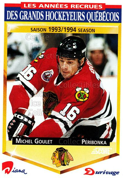 1993-94 Durivage Score #42 Michel Goulet<br/>19 In Stock - $2.00 each - <a href=https://centericecollectibles.foxycart.com/cart?name=1993-94%20Durivage%20Score%20%2342%20Michel%20Goulet...&quantity_max=19&price=$2.00&code=6929 class=foxycart> Buy it now! </a>