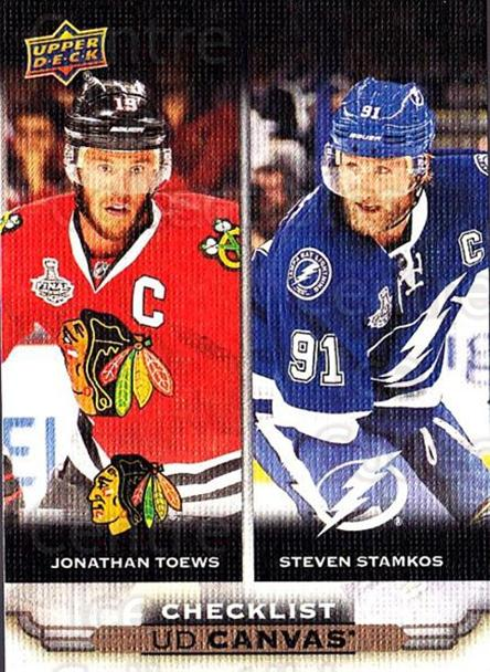 2015-16 Upper Deck Canvas #90 Jonathan Toews, Steven Stamkos, Checklist<br/>2 In Stock - $3.00 each - <a href=https://centericecollectibles.foxycart.com/cart?name=2015-16%20Upper%20Deck%20Canvas%20%2390%20Jonathan%20Toews,...&price=$3.00&code=693477 class=foxycart> Buy it now! </a>