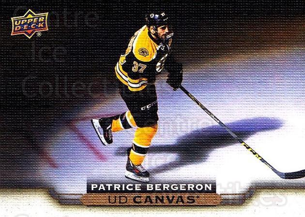 2015-16 Upper Deck Canvas #126 Patrice Bergeron<br/>4 In Stock - $3.00 each - <a href=https://centericecollectibles.foxycart.com/cart?name=2015-16%20Upper%20Deck%20Canvas%20%23126%20Patrice%20Bergero...&quantity_max=4&price=$3.00&code=693513 class=foxycart> Buy it now! </a>