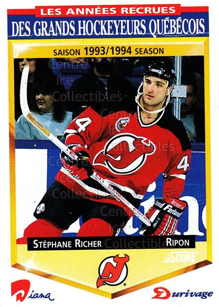 1993-94 Durivage Score #48 Stephane Richer<br/>20 In Stock - $2.00 each - <a href=https://centericecollectibles.foxycart.com/cart?name=1993-94%20Durivage%20Score%20%2348%20Stephane%20Richer...&quantity_max=20&price=$2.00&code=6935 class=foxycart> Buy it now! </a>
