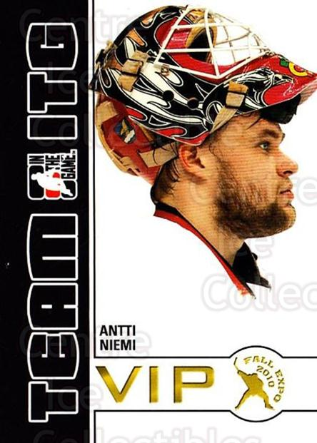 2010-11 ITG Fall Expo Team ITG VIP #1 Antti Niemi<br/>5 In Stock - $3.00 each - <a href=https://centericecollectibles.foxycart.com/cart?name=2010-11%20ITG%20Fall%20Expo%20Team%20ITG%20VIP%20%231%20Antti%20Niemi...&quantity_max=5&price=$3.00&code=693940 class=foxycart> Buy it now! </a>