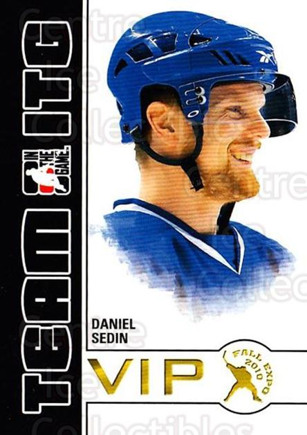 2010-11 ITG Fall Expo Team ITG VIP #6 Daniel Sedin<br/>1 In Stock - $3.00 each - <a href=https://centericecollectibles.foxycart.com/cart?name=2010-11%20ITG%20Fall%20Expo%20Team%20ITG%20VIP%20%236%20Daniel%20Sedin...&price=$3.00&code=693945 class=foxycart> Buy it now! </a>