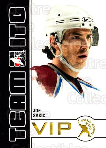 2010-11 ITG Fall Expo Team ITG VIP #18 Joe Sakic<br/>4 In Stock - $3.00 each - <a href=https://centericecollectibles.foxycart.com/cart?name=2010-11%20ITG%20Fall%20Expo%20Team%20ITG%20VIP%20%2318%20Joe%20Sakic...&quantity_max=4&price=$3.00&code=693957 class=foxycart> Buy it now! </a>
