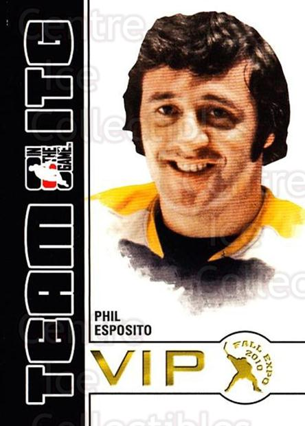 2010-11 ITG Fall Expo Team ITG VIP #31 Phil Esposito<br/>5 In Stock - $3.00 each - <a href=https://centericecollectibles.foxycart.com/cart?name=2010-11%20ITG%20Fall%20Expo%20Team%20ITG%20VIP%20%2331%20Phil%20Esposito...&quantity_max=5&price=$3.00&code=693970 class=foxycart> Buy it now! </a>