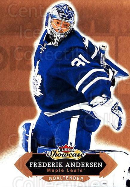 2016-17 Fleer Showcase #8 Frederik Andersen<br/>1 In Stock - $1.00 each - <a href=https://centericecollectibles.foxycart.com/cart?name=2016-17%20Fleer%20Showcase%20%238%20Frederik%20Anders...&quantity_max=1&price=$1.00&code=694729 class=foxycart> Buy it now! </a>