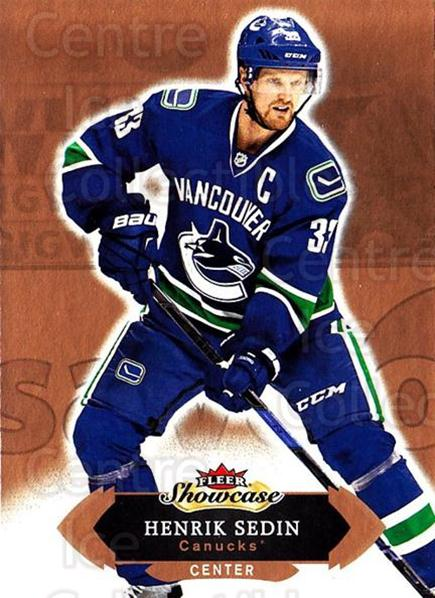 2016-17 Fleer Showcase #42 Henrik Sedin<br/>5 In Stock - $1.00 each - <a href=https://centericecollectibles.foxycart.com/cart?name=2016-17%20Fleer%20Showcase%20%2342%20Henrik%20Sedin...&quantity_max=5&price=$1.00&code=694763 class=foxycart> Buy it now! </a>