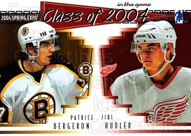 2004 ITG Spring Expo Class of 2004 #5 Patrice Bergeron, Jiri Hudler<br/>1 In Stock - $5.00 each - <a href=https://centericecollectibles.foxycart.com/cart?name=2004%20ITG%20Spring%20Expo%20Class%20of%202004%20%235%20Patrice%20Bergero...&quantity_max=1&price=$5.00&code=694992 class=foxycart> Buy it now! </a>