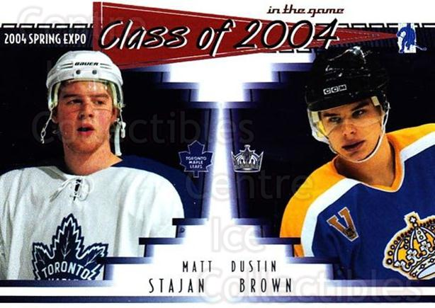 2004 ITG Spring Expo Class of 2004 #4 Matt Stajan, Dustin Brown<br/>1 In Stock - $5.00 each - <a href=https://centericecollectibles.foxycart.com/cart?name=2004%20ITG%20Spring%20Expo%20Class%20of%202004%20%234%20Matt%20Stajan,%20Du...&quantity_max=1&price=$5.00&code=694993 class=foxycart> Buy it now! </a>