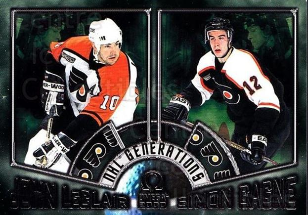 1999-00 Omega NHL Generations #8 John Leclair, Simon Gagne<br/>1 In Stock - $5.00 each - <a href=https://centericecollectibles.foxycart.com/cart?name=1999-00%20Omega%20NHL%20Generations%20%238%20John%20Leclair,%20S...&quantity_max=1&price=$5.00&code=695004 class=foxycart> Buy it now! </a>