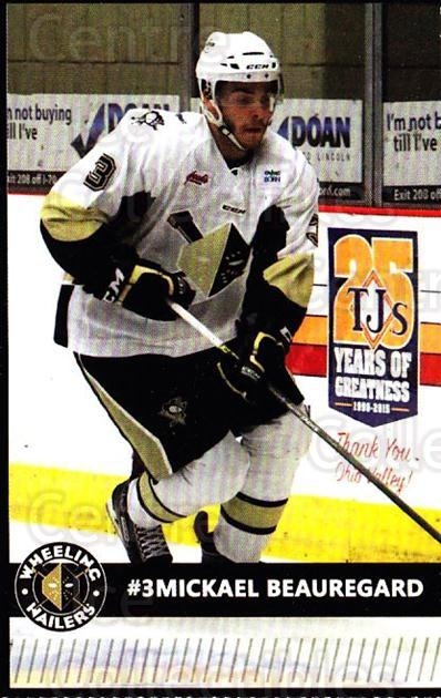 2015-16 Wheeling Nailers #3 Mickael Beauregard<br/>8 In Stock - $3.00 each - <a href=https://centericecollectibles.foxycart.com/cart?name=2015-16%20Wheeling%20Nailers%20%233%20Mickael%20Beaureg...&price=$3.00&code=696228 class=foxycart> Buy it now! </a>