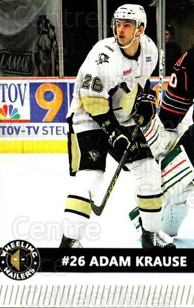 2015-16 Wheeling Nailers #11 Adam Krause<br/>7 In Stock - $3.00 each - <a href=https://centericecollectibles.foxycart.com/cart?name=2015-16%20Wheeling%20Nailers%20%2311%20Adam%20Krause...&quantity_max=7&price=$3.00&code=696235 class=foxycart> Buy it now! </a>