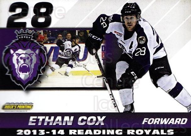 2013-14 Reading Royals #8 Ethan Cox<br/>1 In Stock - $3.00 each - <a href=https://centericecollectibles.foxycart.com/cart?name=2013-14%20Reading%20Royals%20%238%20Ethan%20Cox...&price=$3.00&code=696256 class=foxycart> Buy it now! </a>