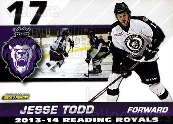 2013-14 Reading Royals #25 Jesse Todd<br/>2 In Stock - $3.00 each - <a href=https://centericecollectibles.foxycart.com/cart?name=2013-14%20Reading%20Royals%20%2325%20Jesse%20Todd...&price=$3.00&code=696273 class=foxycart> Buy it now! </a>