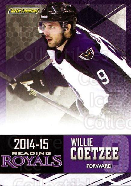 2014-15 Reading Royals #3 Willie Coetzee<br/>2 In Stock - $3.00 each - <a href=https://centericecollectibles.foxycart.com/cart?name=2014-15%20Reading%20Royals%20%233%20Willie%20Coetzee...&price=$3.00&code=696281 class=foxycart> Buy it now! </a>
