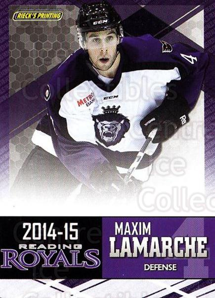 2014-15 Reading Royals #14 Maxim Lamarche<br/>1 In Stock - $3.00 each - <a href=https://centericecollectibles.foxycart.com/cart?name=2014-15%20Reading%20Royals%20%2314%20Maxim%20Lamarche...&price=$3.00&code=696292 class=foxycart> Buy it now! </a>