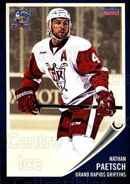 2013-14 Grand Rapids Griffins #21 Nathan Paetsch<br/>1 In Stock - $3.00 each - <a href=https://centericecollectibles.foxycart.com/cart?name=2013-14%20Grand%20Rapids%20Griffins%20%2321%20Nathan%20Paetsch...&price=$3.00&code=696326 class=foxycart> Buy it now! </a>