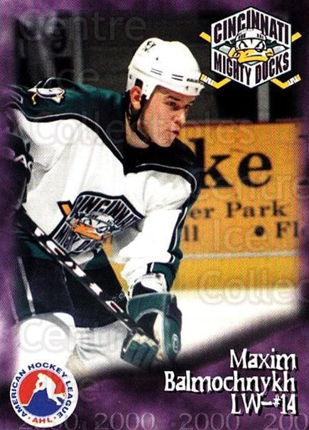 1999-00 Cincinnati Mighty Ducks #13 Maxim Balmochnykh<br/>1 In Stock - $3.00 each - <a href=https://centericecollectibles.foxycart.com/cart?name=1999-00%20Cincinnati%20Mighty%20Ducks%20%2313%20Maxim%20Balmochny...&quantity_max=1&price=$3.00&code=696441 class=foxycart> Buy it now! </a>