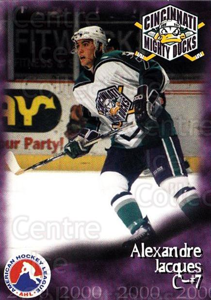 1999-00 Cincinnati Mighty Ducks #18 Alexandre Jacques<br/>1 In Stock - $3.00 each - <a href=https://centericecollectibles.foxycart.com/cart?name=1999-00%20Cincinnati%20Mighty%20Ducks%20%2318%20Alexandre%20Jacqu...&quantity_max=1&price=$3.00&code=696446 class=foxycart> Buy it now! </a>