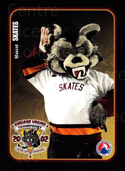 2002-03 Chicago Wolves #25 Mascot<br/>3 In Stock - $3.00 each - <a href=https://centericecollectibles.foxycart.com/cart?name=2002-03%20Chicago%20Wolves%20%2325%20Mascot...&quantity_max=3&price=$3.00&code=696485 class=foxycart> Buy it now! </a>
