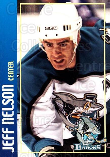 2002-03 Cleveland Barons #17 Jeff Nelson<br/>2 In Stock - $3.00 each - <a href=https://centericecollectibles.foxycart.com/cart?name=2002-03%20Cleveland%20Barons%20%2317%20Jeff%20Nelson...&price=$3.00&code=696532 class=foxycart> Buy it now! </a>