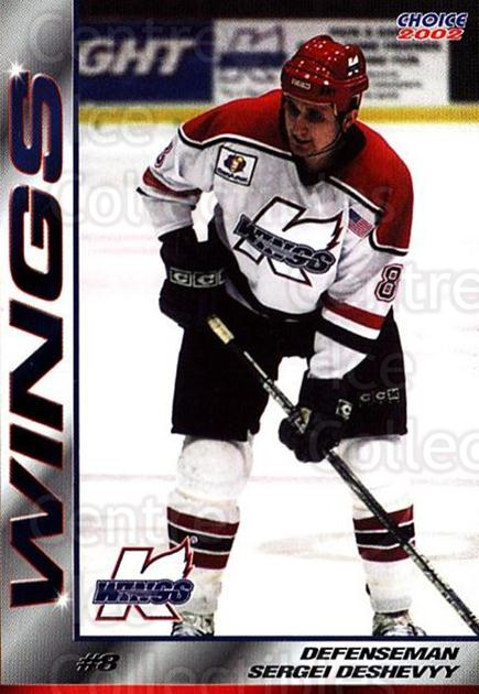 2001-02 Kalamazoo Wings #3 Sergei Deschevy<br/>1 In Stock - $3.00 each - <a href=https://centericecollectibles.foxycart.com/cart?name=2001-02%20Kalamazoo%20Wings%20%233%20Sergei%20Deschevy...&quantity_max=1&price=$3.00&code=696542 class=foxycart> Buy it now! </a>