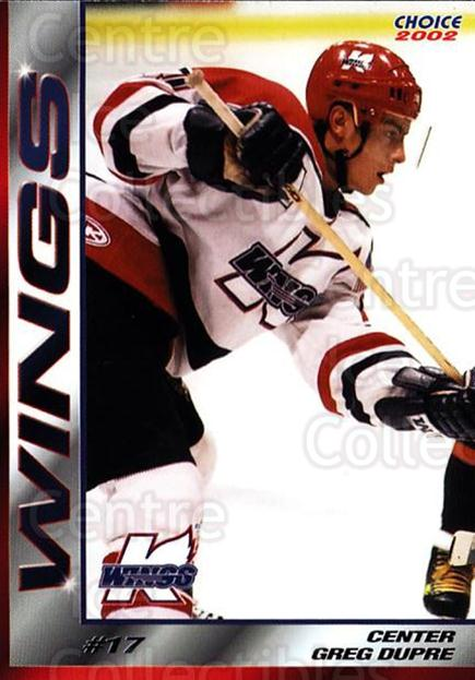 2001-02 Kalamazoo Wings #11 Gregory Dupre<br/>1 In Stock - $3.00 each - <a href=https://centericecollectibles.foxycart.com/cart?name=2001-02%20Kalamazoo%20Wings%20%2311%20Gregory%20Dupre...&quantity_max=1&price=$3.00&code=696550 class=foxycart> Buy it now! </a>
