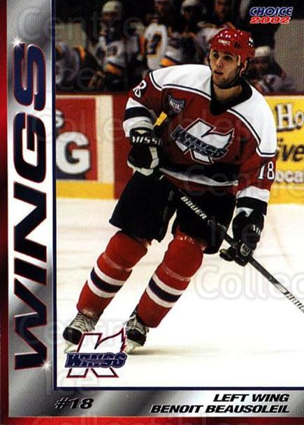 2001-02 Kalamazoo Wings #12 Benoit Beausoleil<br/>2 In Stock - $3.00 each - <a href=https://centericecollectibles.foxycart.com/cart?name=2001-02%20Kalamazoo%20Wings%20%2312%20Benoit%20Beausole...&quantity_max=2&price=$3.00&code=696551 class=foxycart> Buy it now! </a>